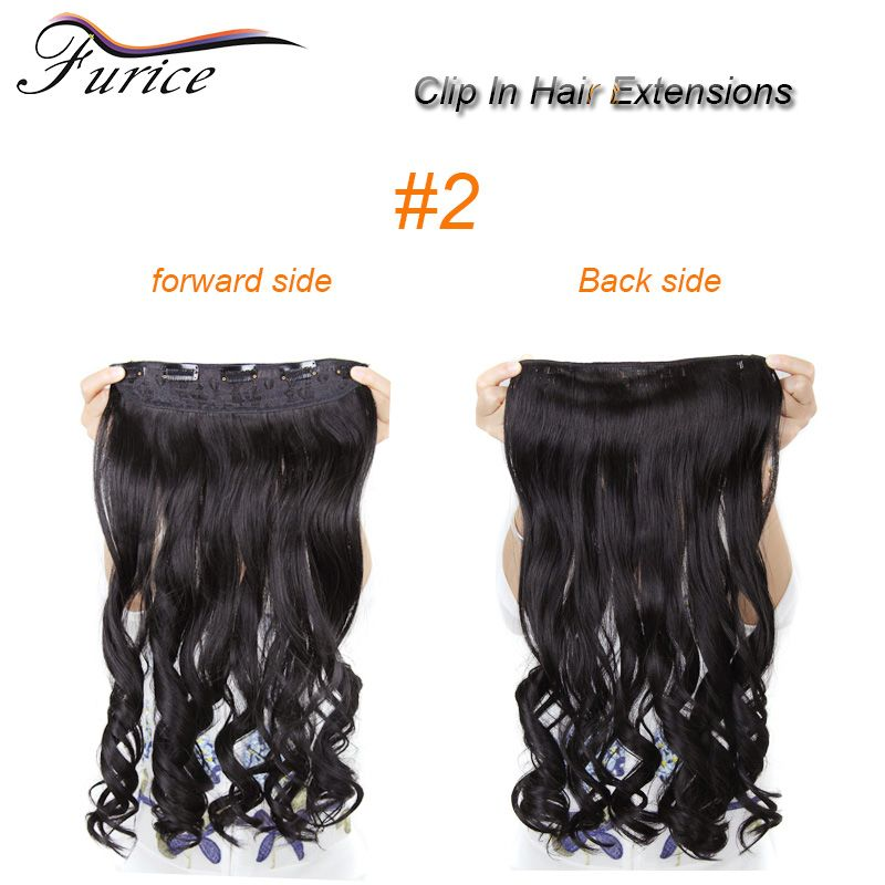 Multicolor One Piece For Full Head Long Wavy Curly Hair Extensions