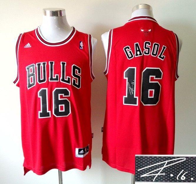 e9751873ac11 Men s NBA Chicago Bulls  16 Paul Gasol Red Signature Jersey