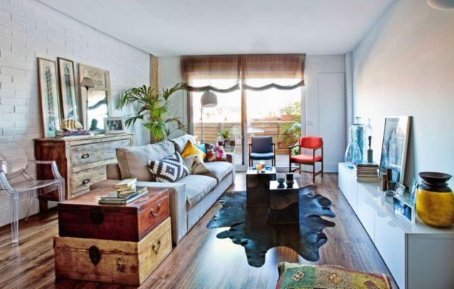 einrichten-vintage-wohnzimmer-möbel-zubehör-koffer-kisten-holz - wohnideen wohnzimmer holz