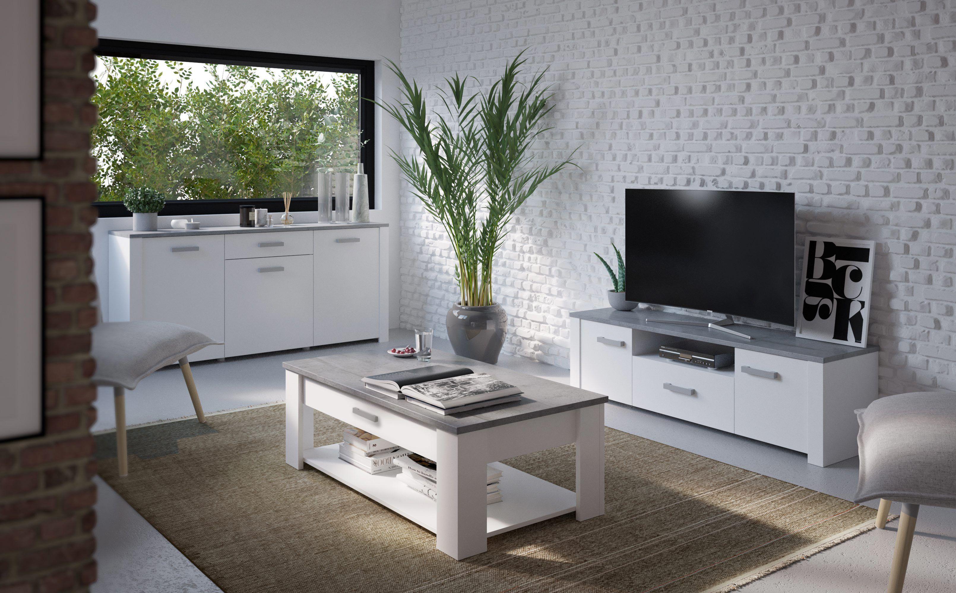Le Blanc Et Le Gris Une Association Parfaite Pour Un Interieur Avec Du Caractere Table Basse Loukia Blanc E Meuble Tv Meuble Tv Pas Cher Mobilier De Cuisine