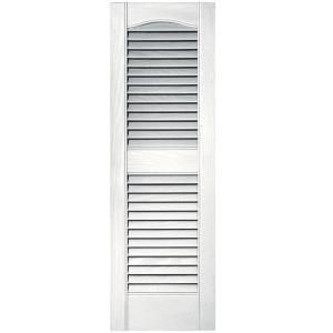 Might Use These As Shower Doors Builders Edge 12 In X 36 In Louvered Vinyl Exterior Shutters Pair In 117 Shutters Exterior Vinyl Exterior Vinyl Shutters