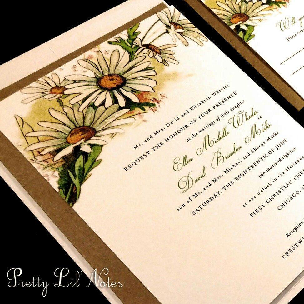 Watercolor Sunflower Daisy Wedding Invitation Field Custom Unique ...