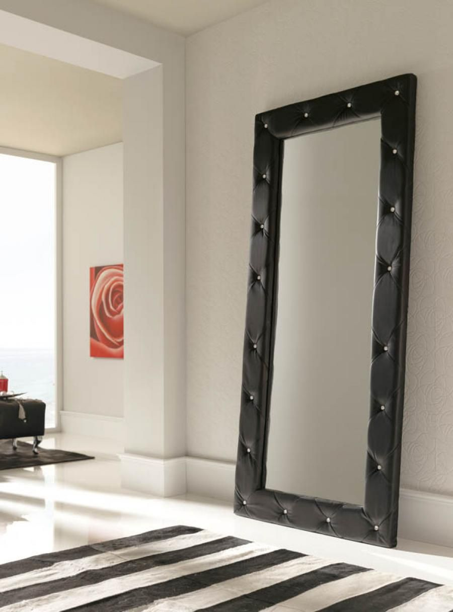 Luxurious quilted 2 metre tall black wall mirror full for Floor wall mirror