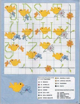 Schema punto croce Alfabeto pulcini 2