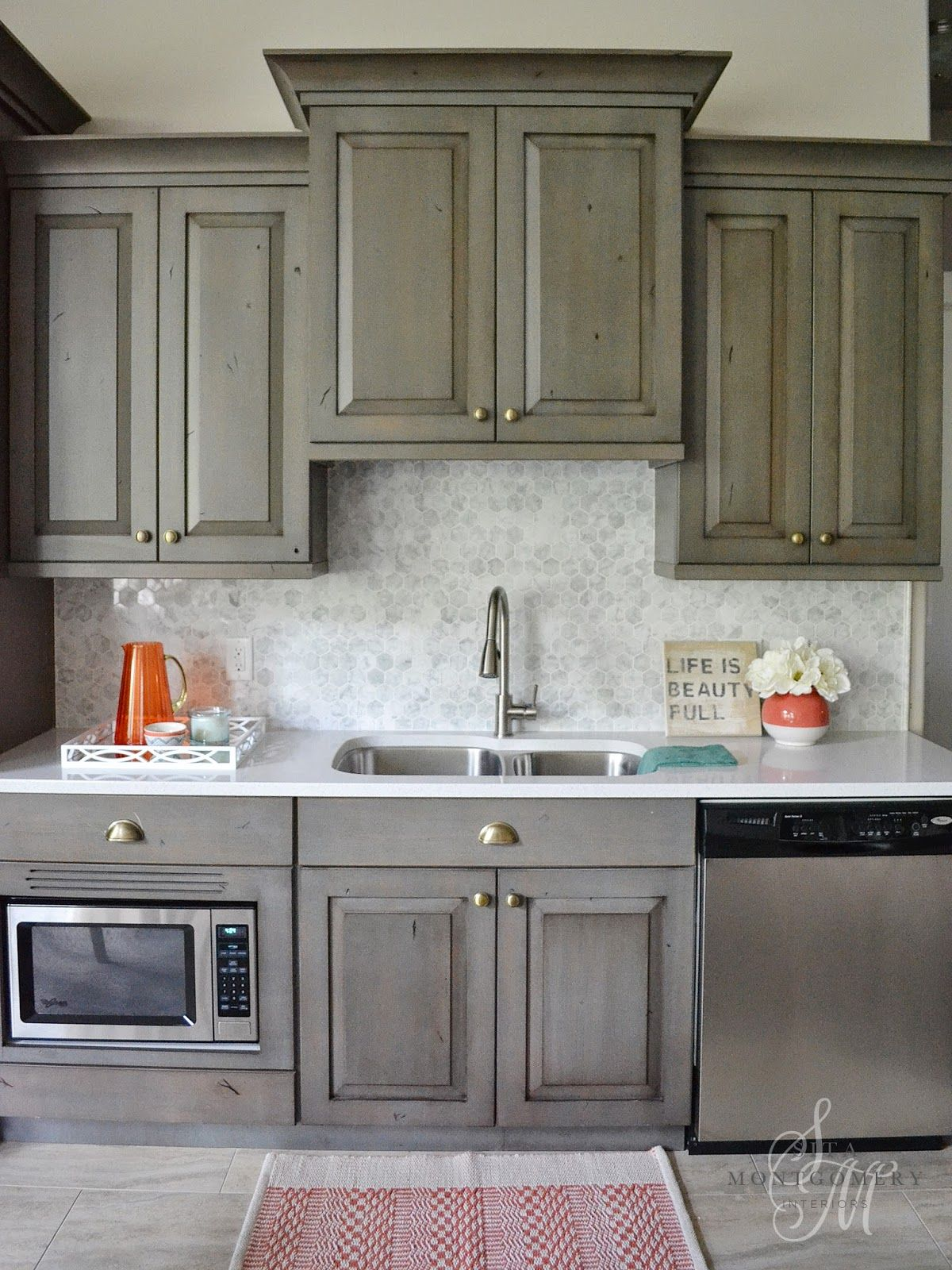 Sita Montgomery Interiors Gray cabinets brass hardware marble hexagon tile backsplash