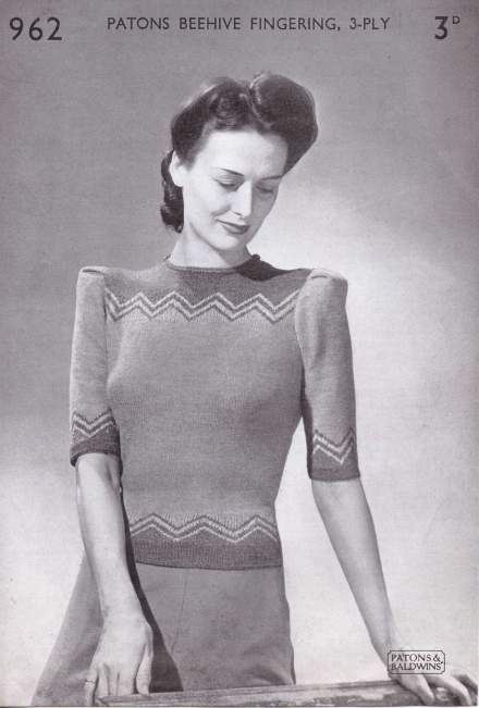 Patons And Baldwins Zigzag Free Vintage Knitting Pattern 40s Forties