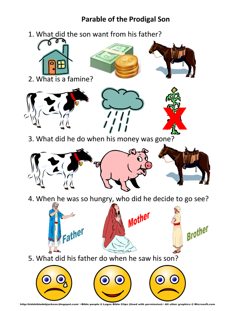 12  Parable of the Prodigal Son Worksheet pdf - Google Drive