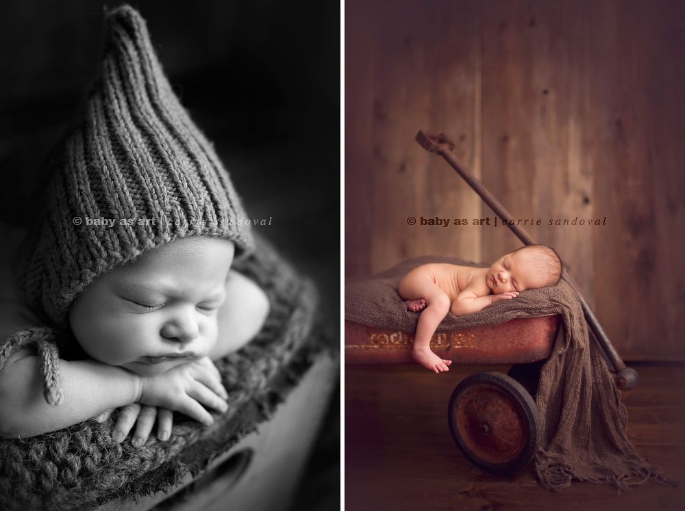 newborn photographer, baby in vintage radio flyer wagon