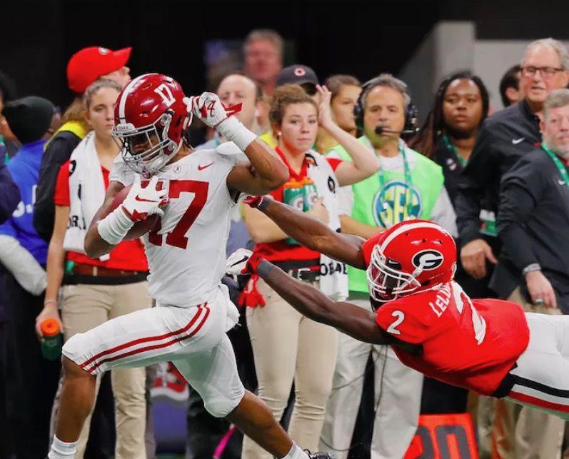 Jaylen Waddle Touchdown Alabama 35 Georgia 28 In The 2018 Sec Championship Game In Atlan Alabama Crimson Tide Alabama Football Roll Tide Crimson Tide Football