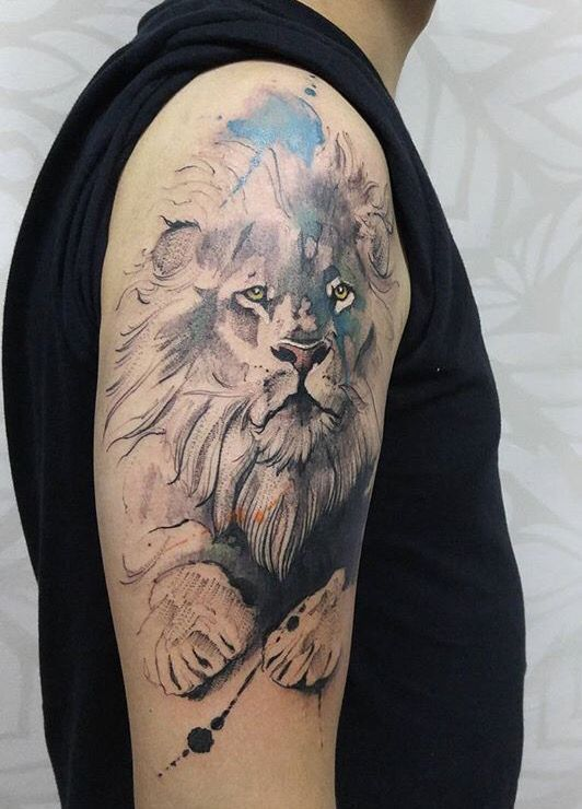 Painting By Luqman Reza Mulyono Jongkie Entitled Aslan This Painting Colorful Lion Tattoo Watercolor Lion Tattoo Leopard Tattoos