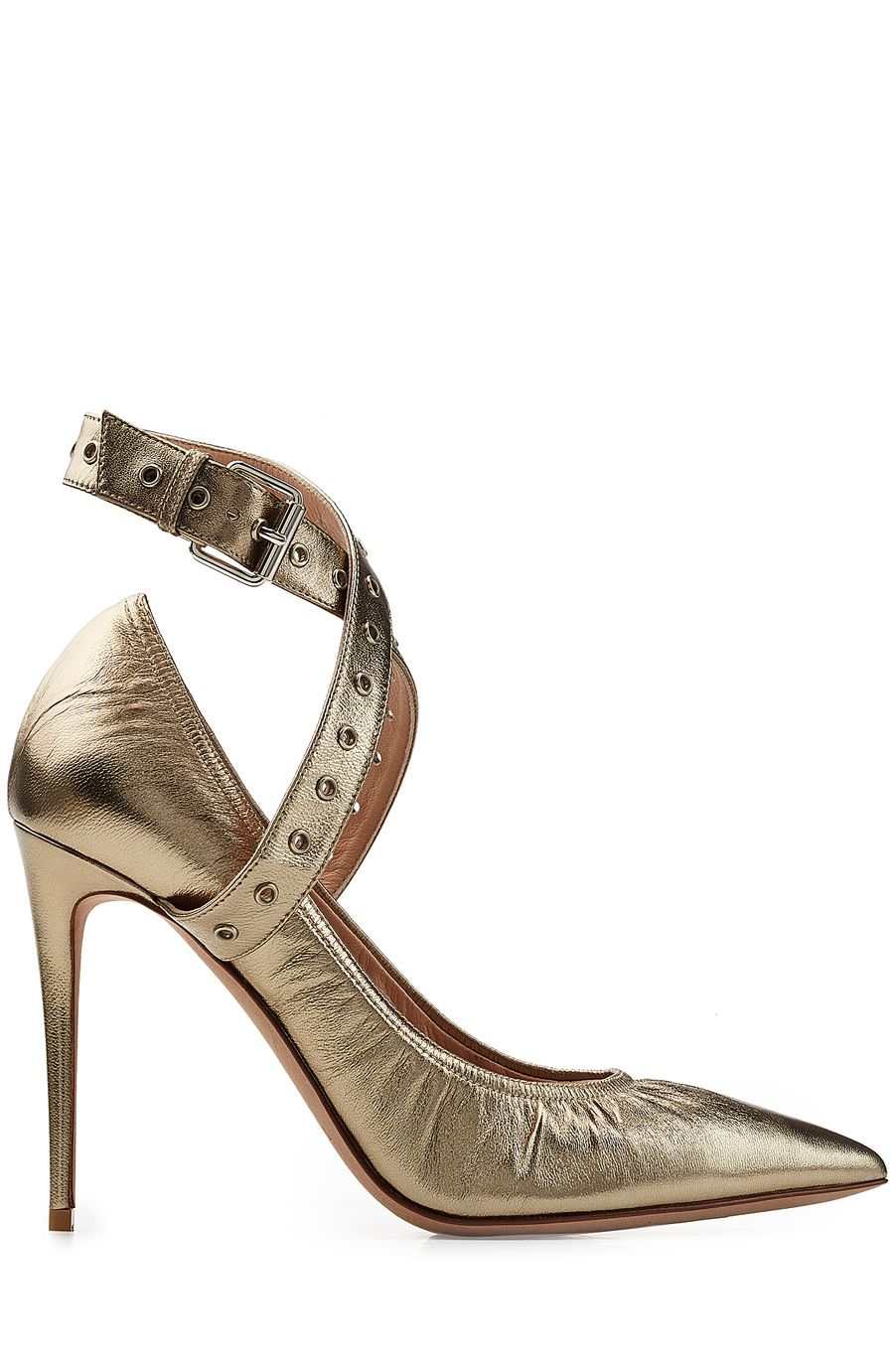 VALENTINO Metallic Leather Cross-Front Pumps. #valentino #shoes #pumps