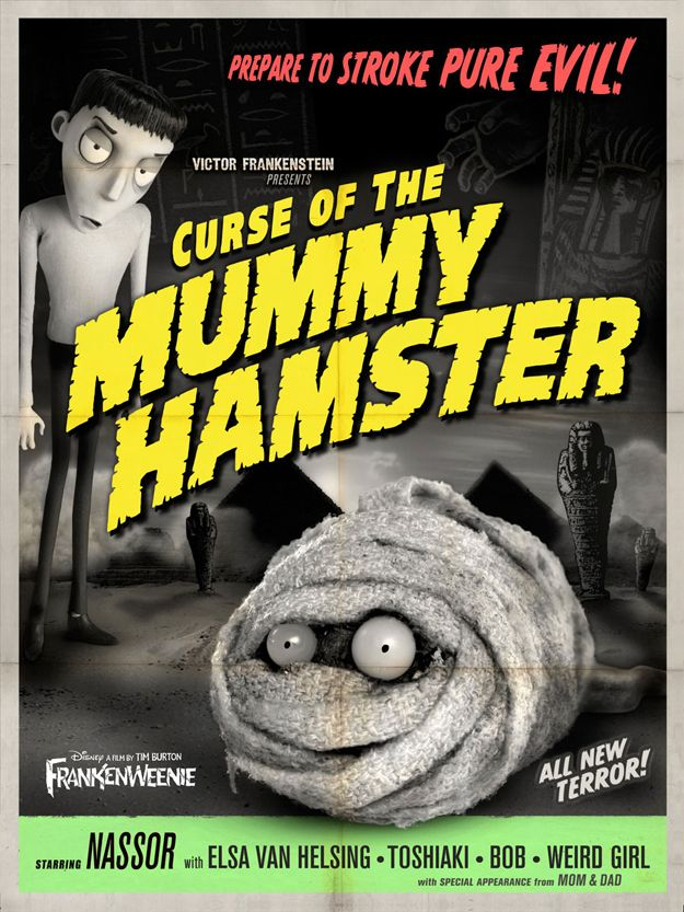 Retro Frankenweenie poster Curse of the Mummy Hamster