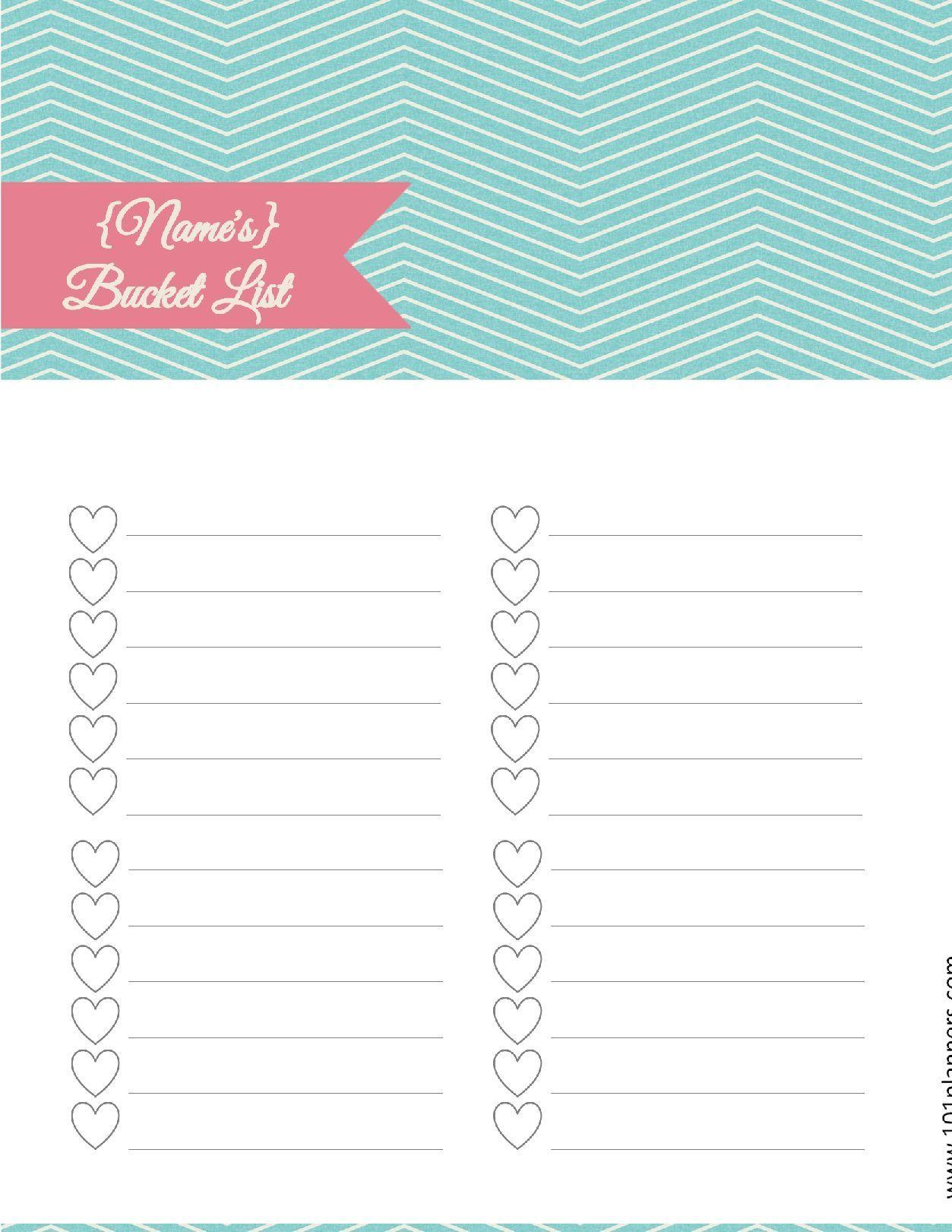 Free Bucket List Printable   bucket list   List maker, Checklist