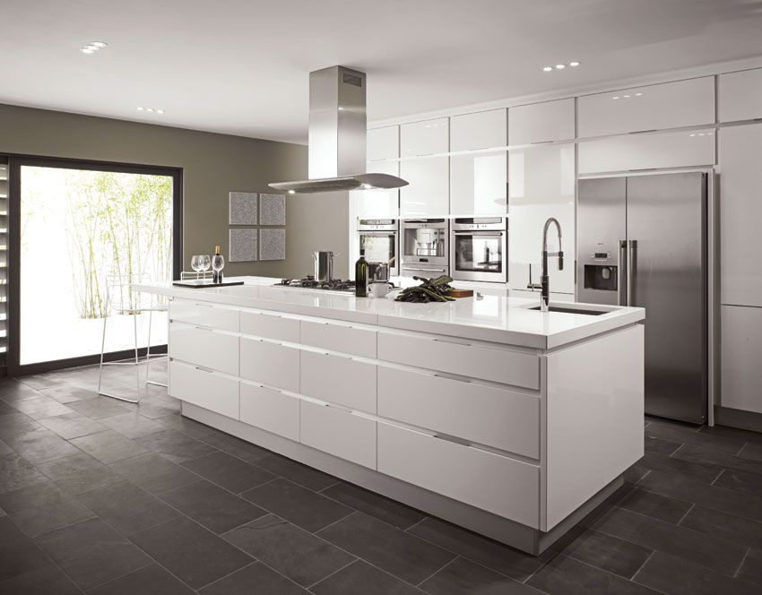 White Kitchen Worktops high-end cabinet trim & pulls on white high gloss kitchen