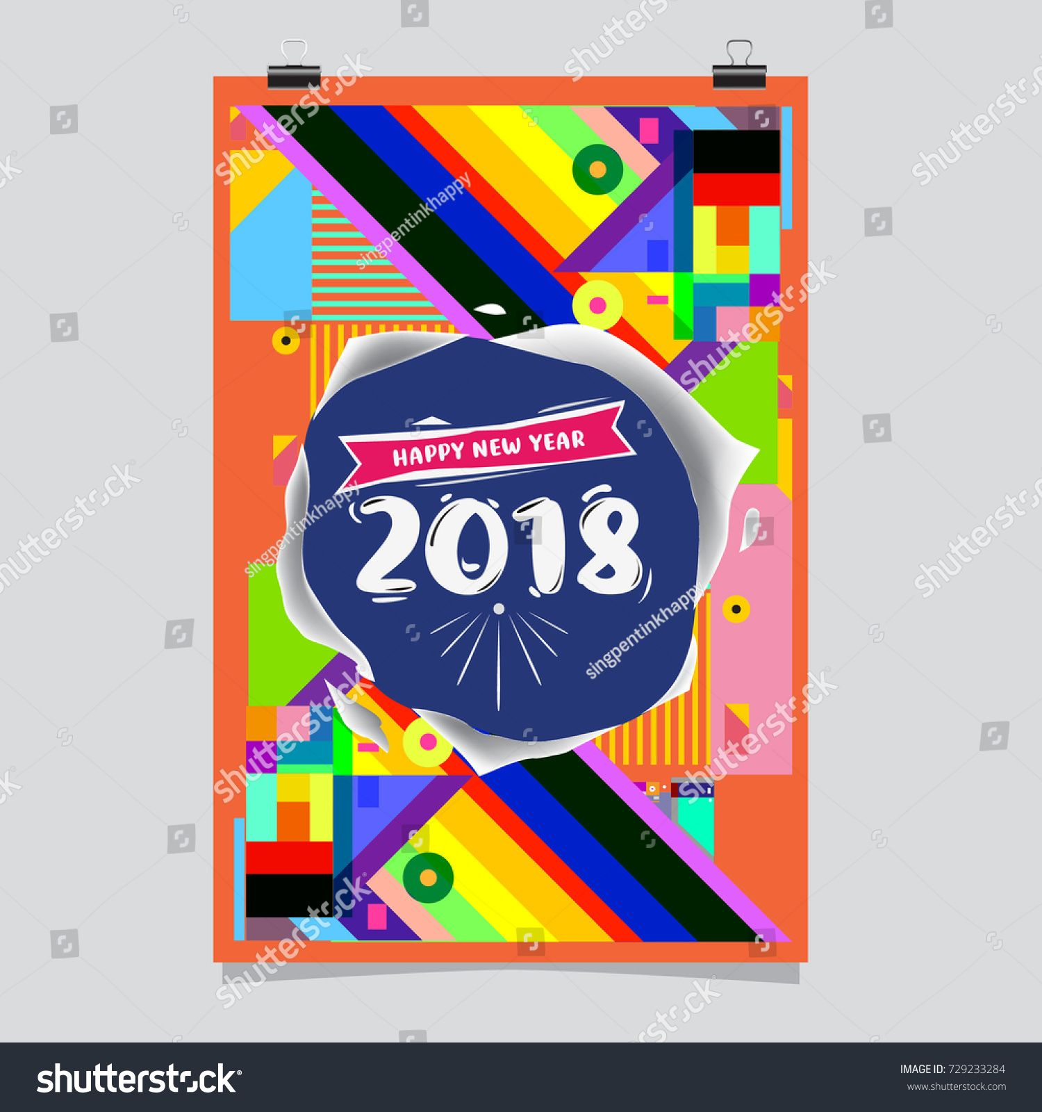 Happy new year 2018 colorful abstract design vector elements for happy new year 2018 colorful abstract design vector elements for calendar and greeting card kristyandbryce Images