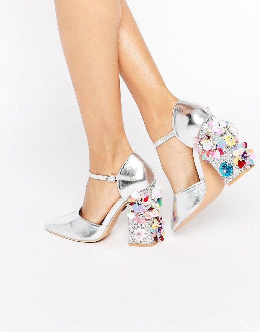 6c60e2516a Image 1 of Daisy Street Flower Detail Point Heeled Shoes | Style in ...