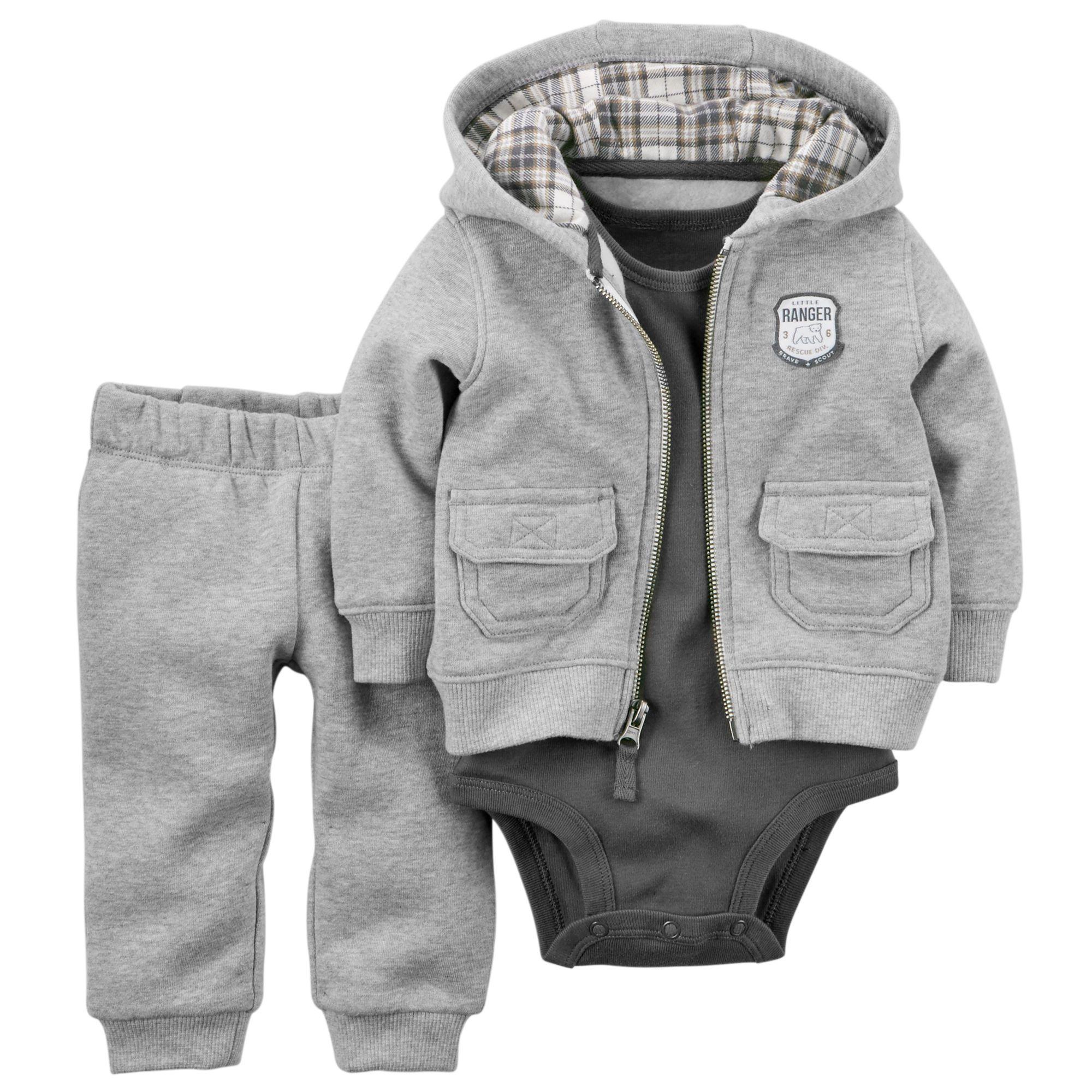 3 Piece Hooded Fleece Cardigan Set