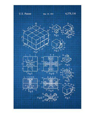 Look at this #zulilyfind! Rubiks Cube Patent Art Poster #zulilyfinds