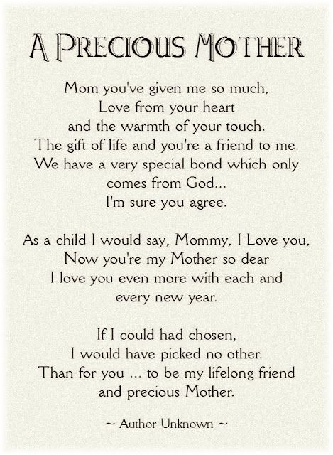 Mother's Day Poem  Thanks Mom  Miss you  xoxo courtesy of @Heather