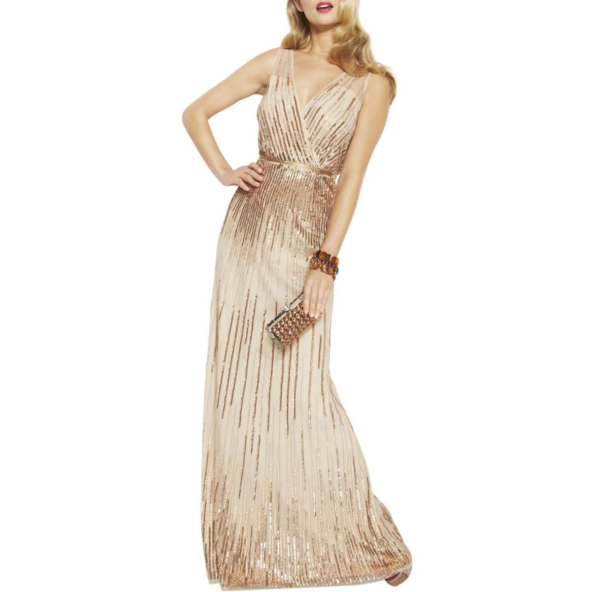 Nice great adrianna papell womens beige embellished mesh