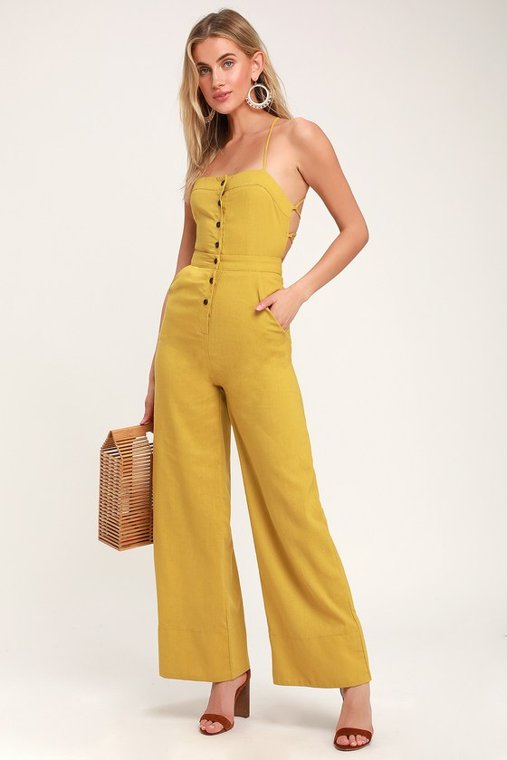 Lulus | Beach Day Mustard Yellow Backless Jumpsuit | Size Large #casualjumpsuit