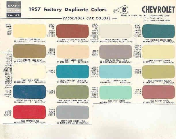1957 Chevrolet Paint Color Chips