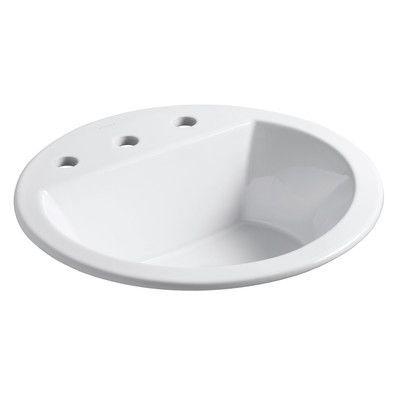 Kohler Bryant Ceramic Circular Drop In Bathroom Sink With Overflow