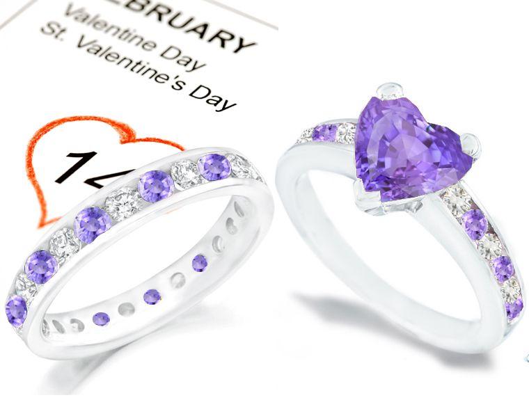 Purple Heart Sapphire And Diamond Engagement Rings Wedding