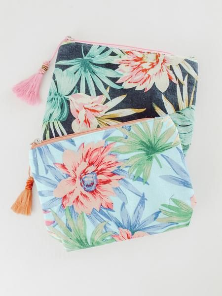 Tropical Cosmetic Bag - Cosmetic bag, Boutique accessories, Bags, Cosmetics, Womens fashion accessories, Fashion boutique - This cosmetic bag will go anywhere you want and hold all your things while it's at it! Perfect for your travel endeavors and it looks adorable sitting in a bathroom   just saying  slick inside for easy clean up  Comes in two colors tropical black and tropical turq  W 8  x L 7  x D 1 5