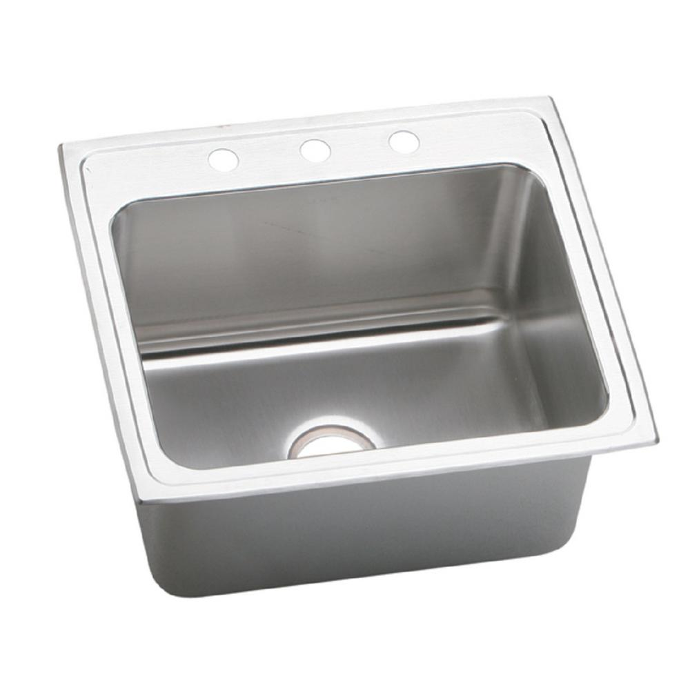 Elkay Lustertone Drop In Stainless Steel 25 In 3 Hole Single Bowl