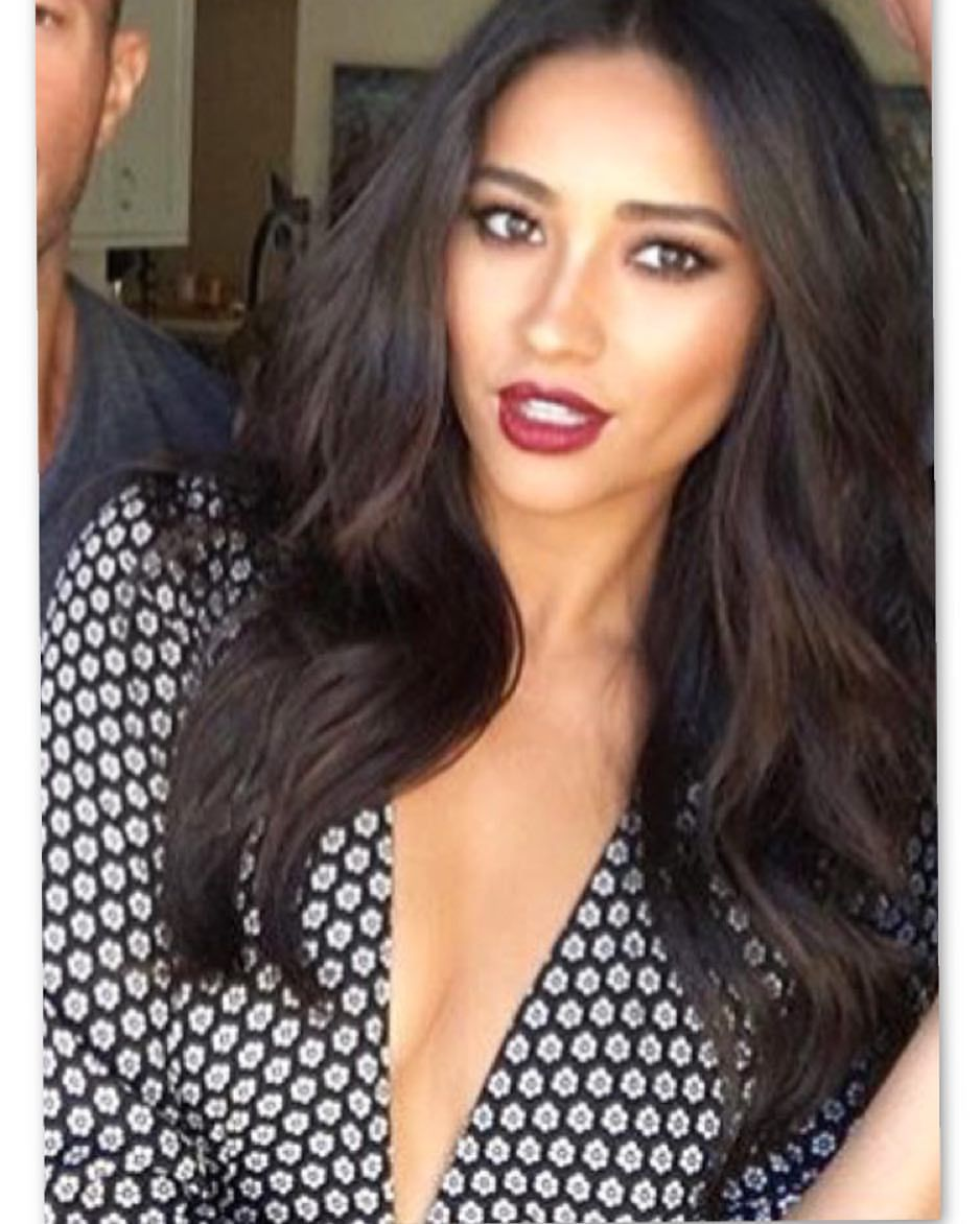 Shay mitchell in our kris maxi dress bell sleeve high leg slit