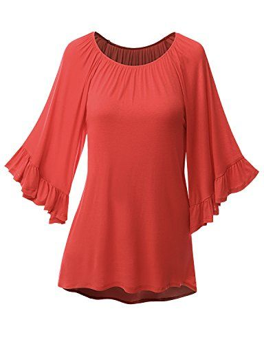 2457fa214a386 Doublju Women 3/4 Reglan Sleeve Elastic Ribbed Neckline T-shirt Tunic Top  Coral