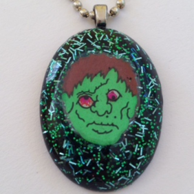 Zombie Monster Resin Jewelry Necklace or backpack Keychain Halloween Decoration