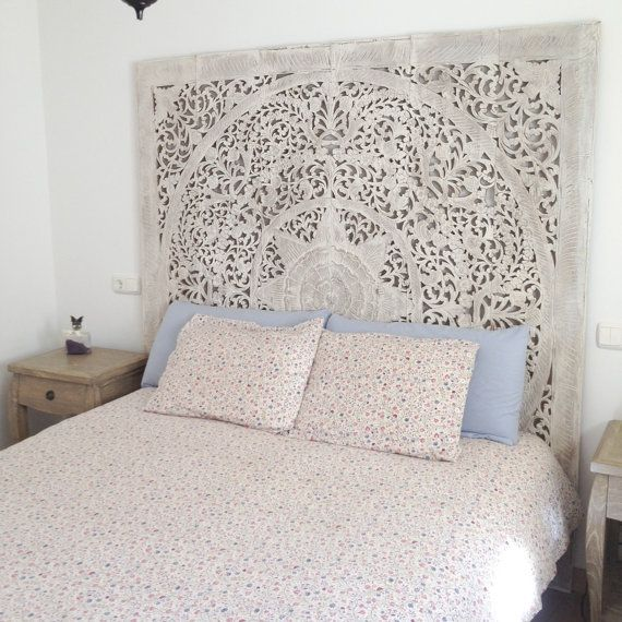 Large White Wash Headboard, 3D Wall Art Panel, Decorative Wall Hanging From  Thailand.
