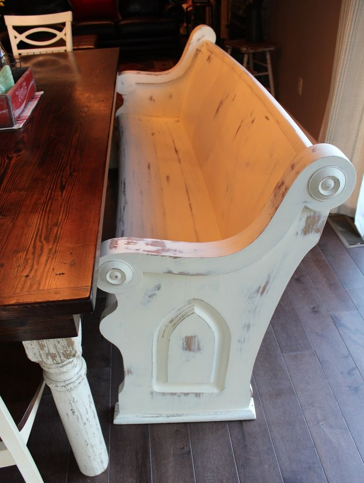 Refinished church pew used as a bench | Antique Church Pews ...