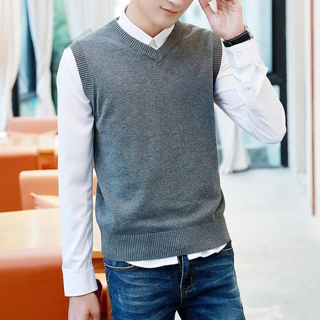 ZEESHANT XXXL Mens' Pullover Sweater Vest V-Neck Sweater Cotton Knitted Plus Size Slim Class Vest