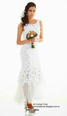 Vestidos de novia tejidos a crochet patrones