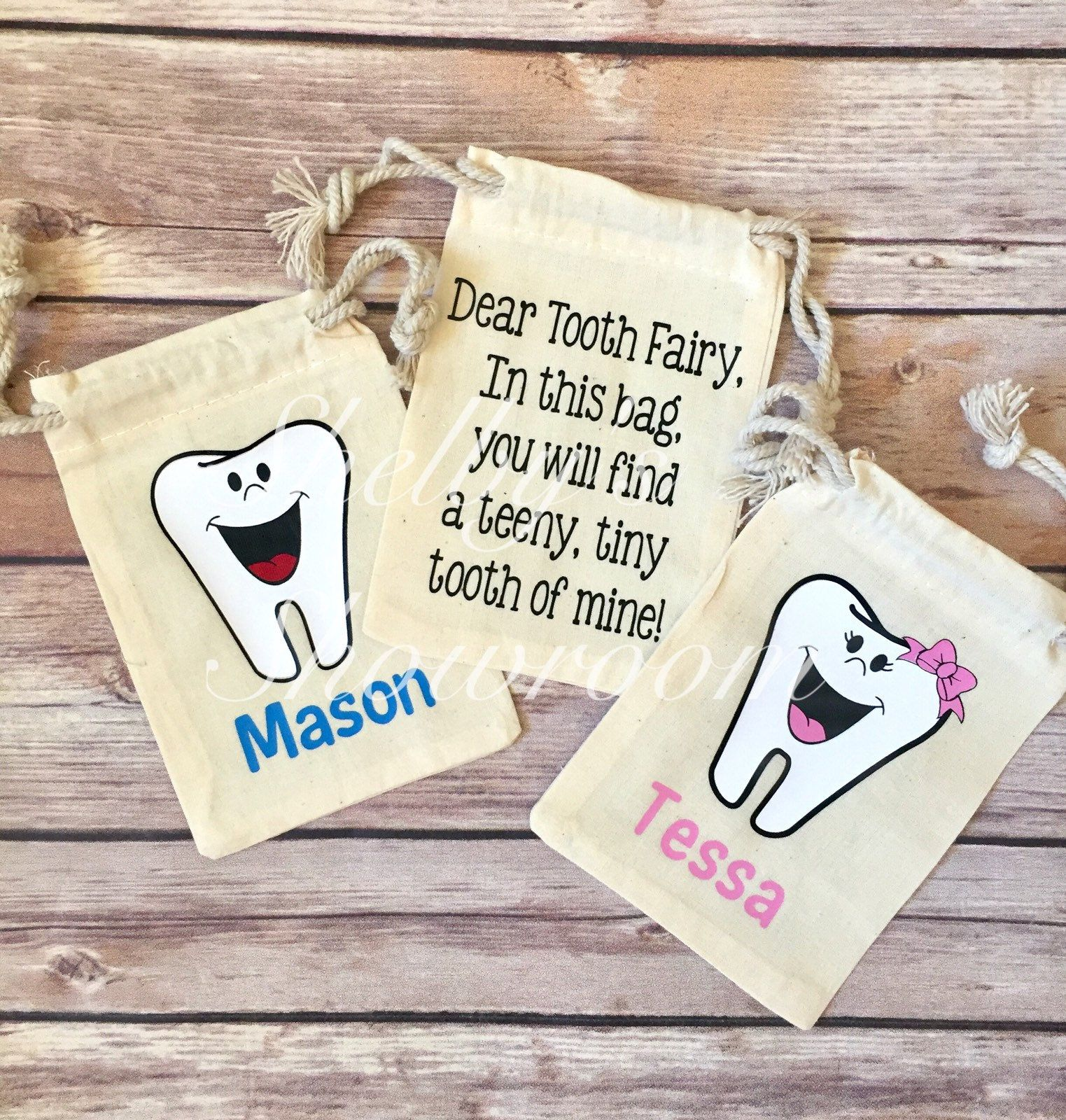 TOOTH FAIRY BAG PERSONALISED with your childs name TEETH FAIRY GIRL BOY COTTON