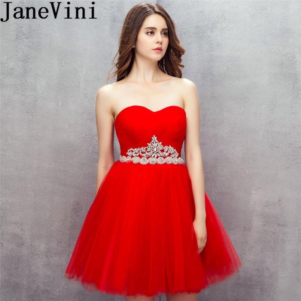 Janevini boho crystal red tulle dress 2019