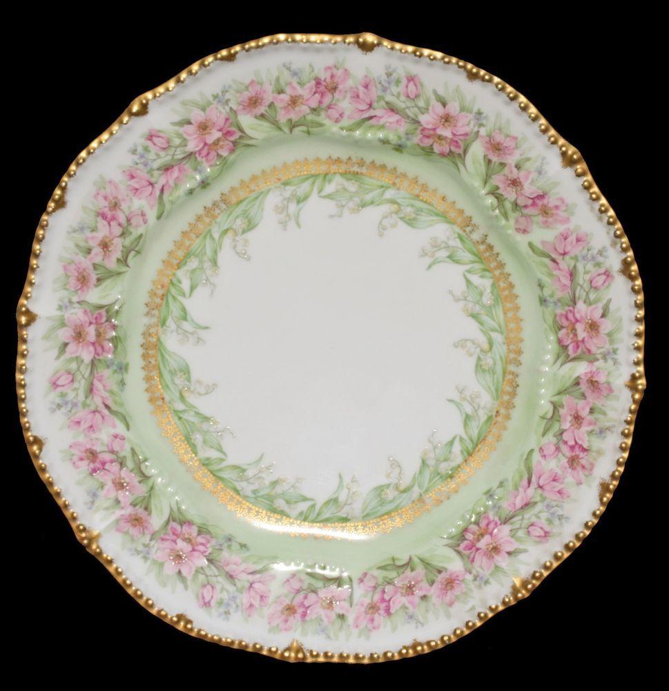 """Elite L Works France Limoges ANTIQUE Pink Florals & GOLD 9 ¾"""" DINNER PLATE HP #EliteLWorksLimogesFrance #EliteWorks"""