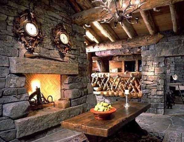 Rustic Stone Fireplace Building A Castle Log Cabin Homes Cabin
