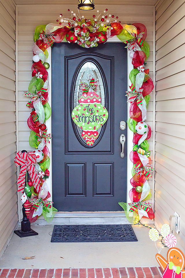 Mesh garland around our front door whimsical door for Christmas swags and garlands to make