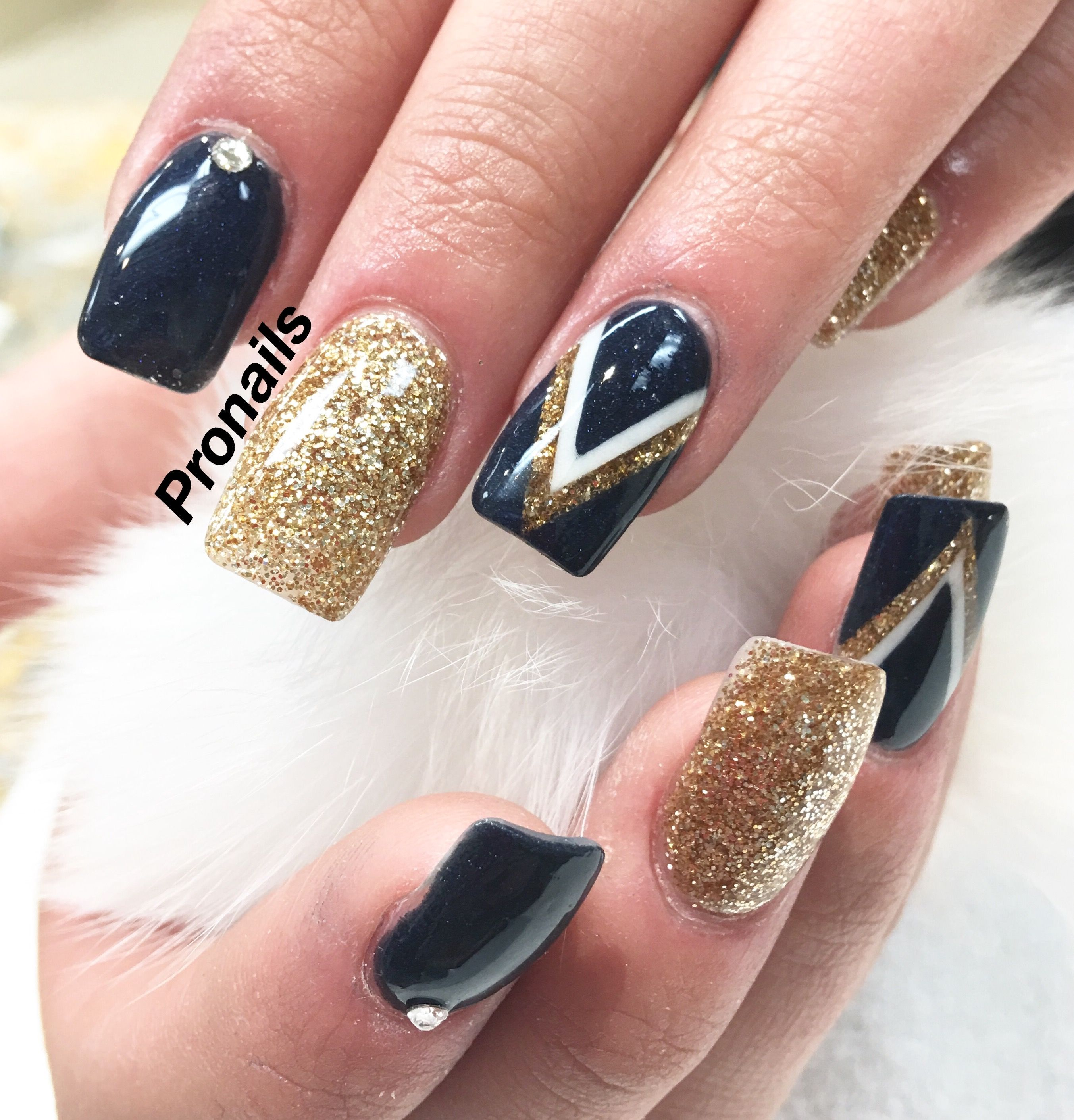Navy blue with gold acrylic design)