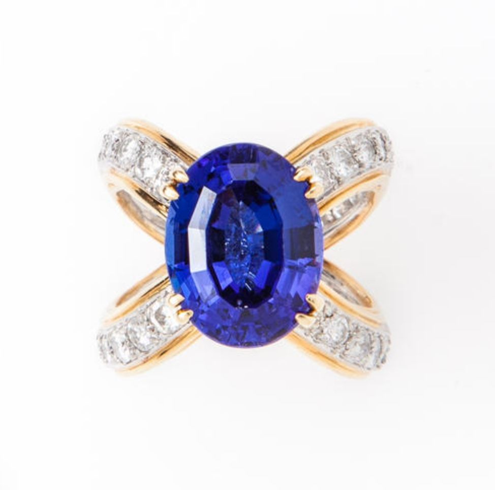 A tanzanite and diamond ring, attributed to Donald Claflin for Tiffany & Co.
