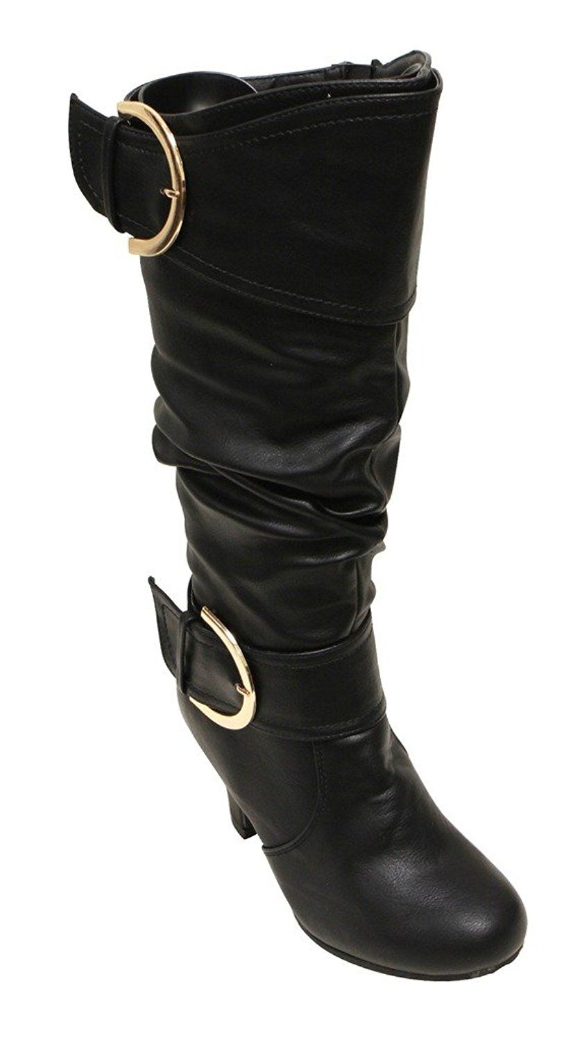 7f350728b7b Top Moda Aiden-3 Women s almond toe kitten heel buckle slouchy side zipper  mid-calf boots     You can find more details by visiting the image link.