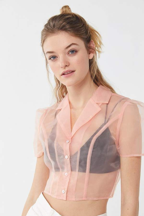 bbd52fa8d UO Sheer Organza Button-Down Cropped Top in 2019 | Products | Crop ...