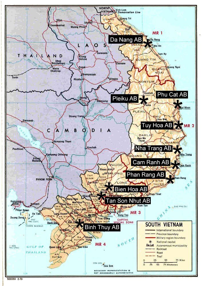 Map of major U.S. Air Force Bases in South Vietnam during the Vietnam War 1967