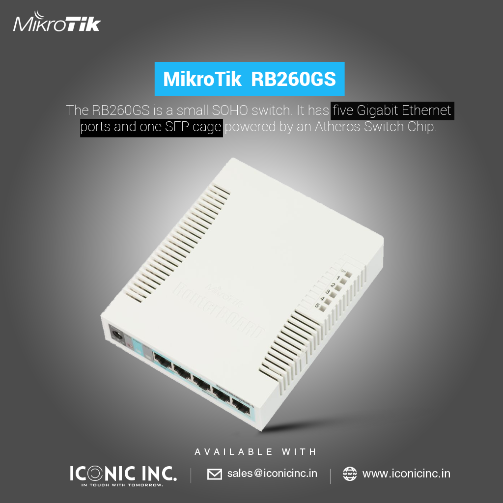 The MikroTik RB260GS is a small SOHO switch  It has five Gigabit