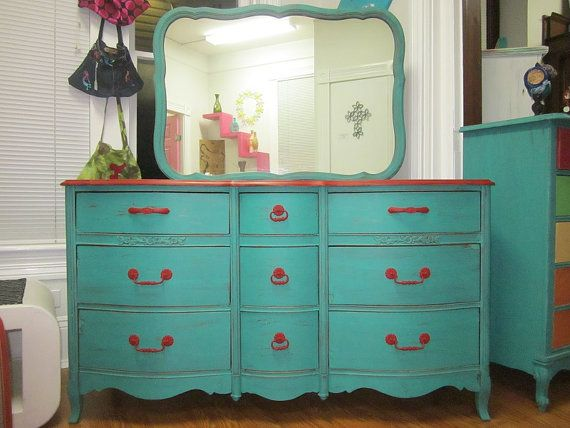 Shabby Chic Distressed Turquoise Red Dresser With By Founditshop