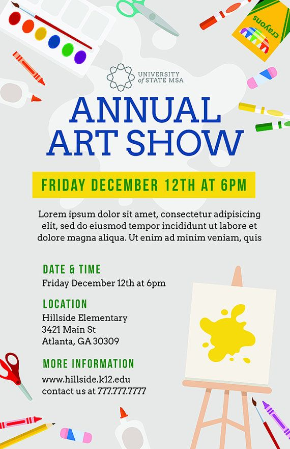 DIY Printable School Art Show Flyer Template, Word Flyer Templates